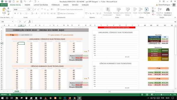 Captura de tela da Planilha Excel. Calcular resultado ENEM numa Planilha Excel. Captura de tela, Planilha Excel, ENEM 2018, DRF Designer, Design Gráfico, Web Design, Profissional Office, Petrolina, petrolina pe, exame de seleção